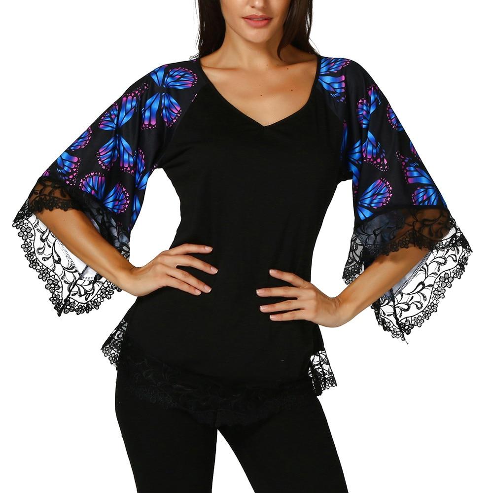 2019 primavera verano Mujer mariposa de media manga camiseta con encaje Top señoras Tee camisa Top holgada Blusa femenina