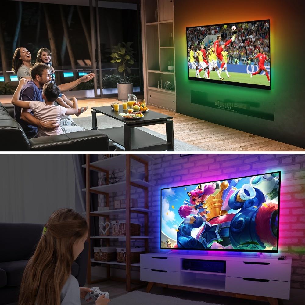5V WS2812B USB LED Strip light 5050 RGB Dream Color Ambient TV Kit for Desktop PC Screen Background lighting 1M 2M 3M 4M 5M