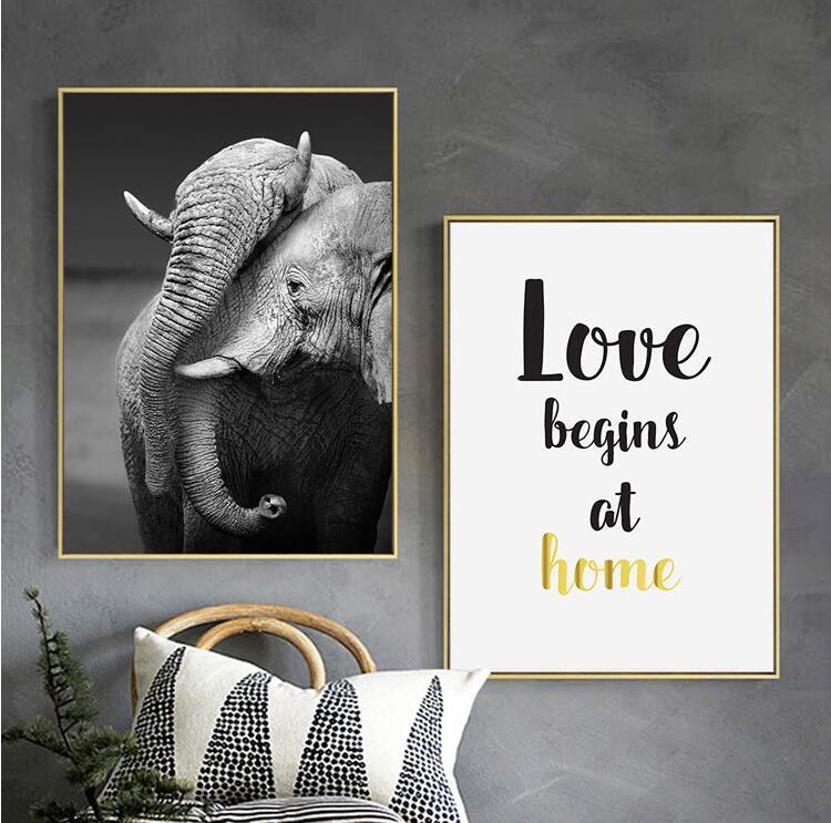 Cartazes E Cópias do texto do elefante Animal da Arte Da Parede Da Lona Pintura Da Arte Da Lona Animal Fotografia Retratos Da Parede Para Sala Dezembro