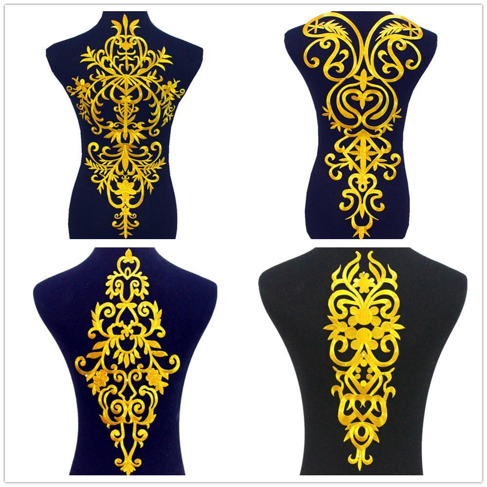 Parches de bordado dorado de flor grande con apliques de hierro 1 pieza para ropa Europa Vintage dorado Cosplay disfraces Diy adornos
