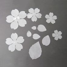 DoreenBeads, joyería romántica de estilo de hoja translúcida con flores de Sakura de plástico retráctil de moda, hallazgos de 67x65mm-15x10mm, 1 hoja