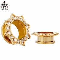 fashion gold stainelss steel lotus crystal ear plugs tunnels piercing body jewelry gauges body jewelry sell by pair