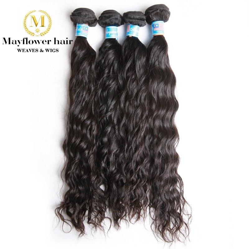 "Mayflower 1/2/3/4 mechones 100% cabello virgen malayo sin procesar, ONDA DE AGUA, color natural de 12-24 "", Envío Gratis"