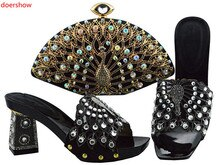 Doershow الأحذية و مجموعة الحقائب للنساء الصيف الأفريقي نمط الأحذية الايطالية و مجموعة الحقائب للحزب مخصص المنتجات! SXF1-6