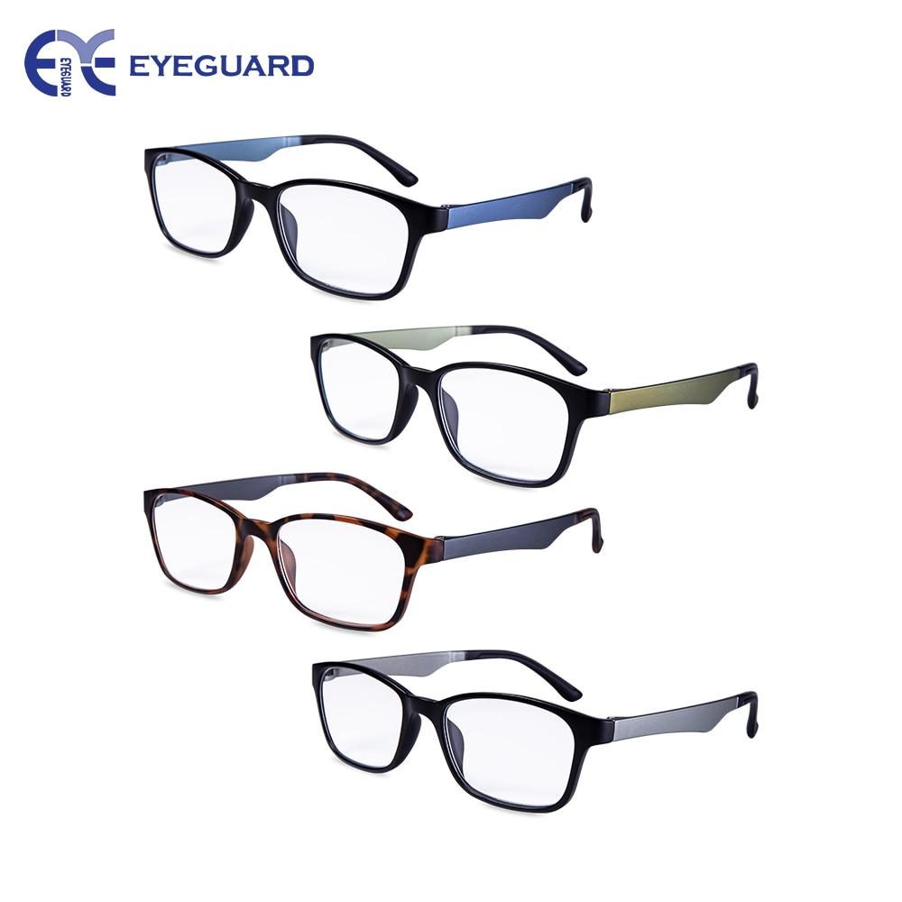 Óculos de Leitura EYEGUARD 4 Pack ultraleve Especificações Retangular Qualidade Da Moda portátil Leitores Homens