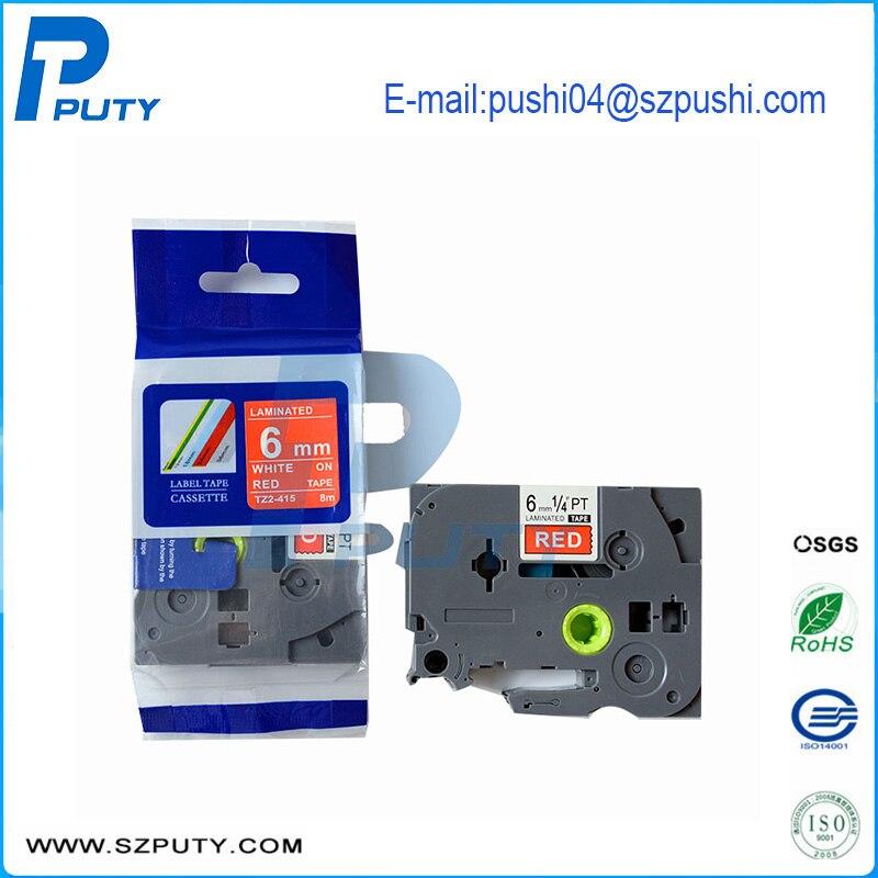 6mm blanco sobre rojo compatible P-touch máquina cinta casete TZ cinta TZe-415 TZe 415
