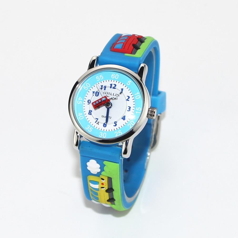 New Bus 3D Blue Band Pattern Design Little Girl Children Students Boy Women Wrist Watch Waterproof C