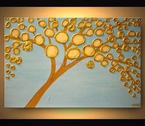 Ручная роспись золотые деньги дерево полные золотые деньги лепестки цветка большой и маленький лепесток полная дерева масляная живопись н...