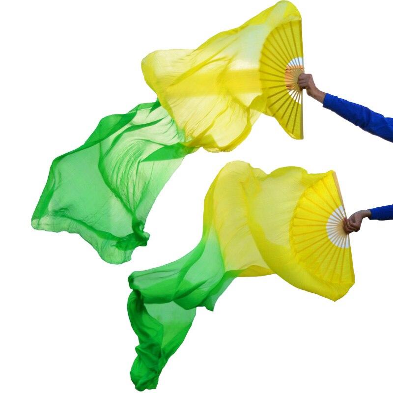 2018 High selling 100% Real Silk Veils 1 Pair handmade women Quality Silk Belly Dance Fan Dance yellow + green недорого