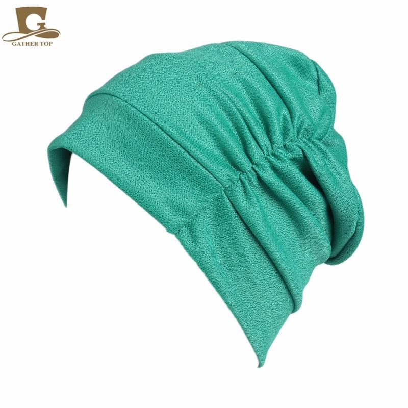 New women Soft slouchy ruffle Chemo beanie Cap Sleep Turban Hat Liner for Cancer Hair Loss caps Bonn