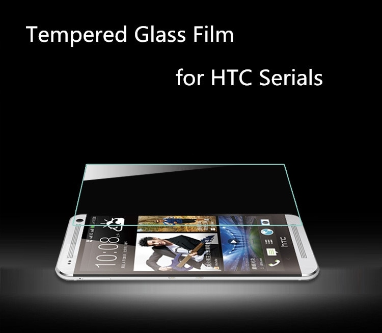 Premium 0,3mm 2.5D de templado de vidrio de película 9H Protector de pantalla para HTC uno M7 M8 E9 M9 deseo 320, 616, 816, 820, 826, 626, 510, 516, 610
