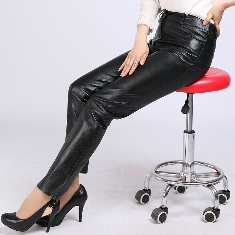 2019 New Women Goatskin Genuine Leather Pants Office Lady Slim Plus Size 4XL Black Pencil Pants Natural Real Leather Trousers