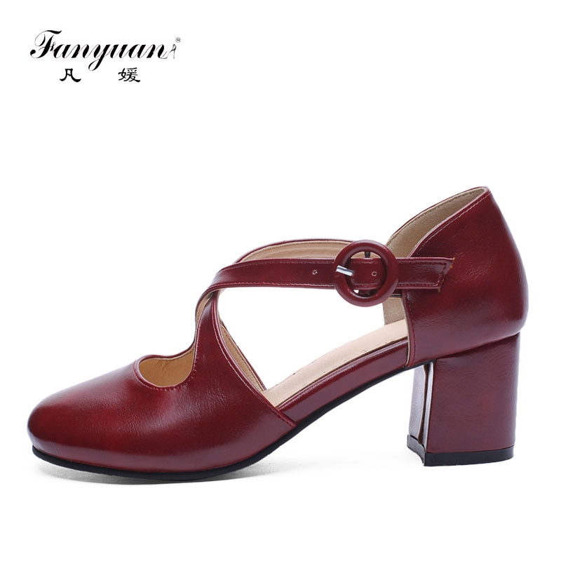 fanyuan Fashion belt buckle shoes Women Solid Spring/Autumn Cross-Strap Concise Round Toe Casual