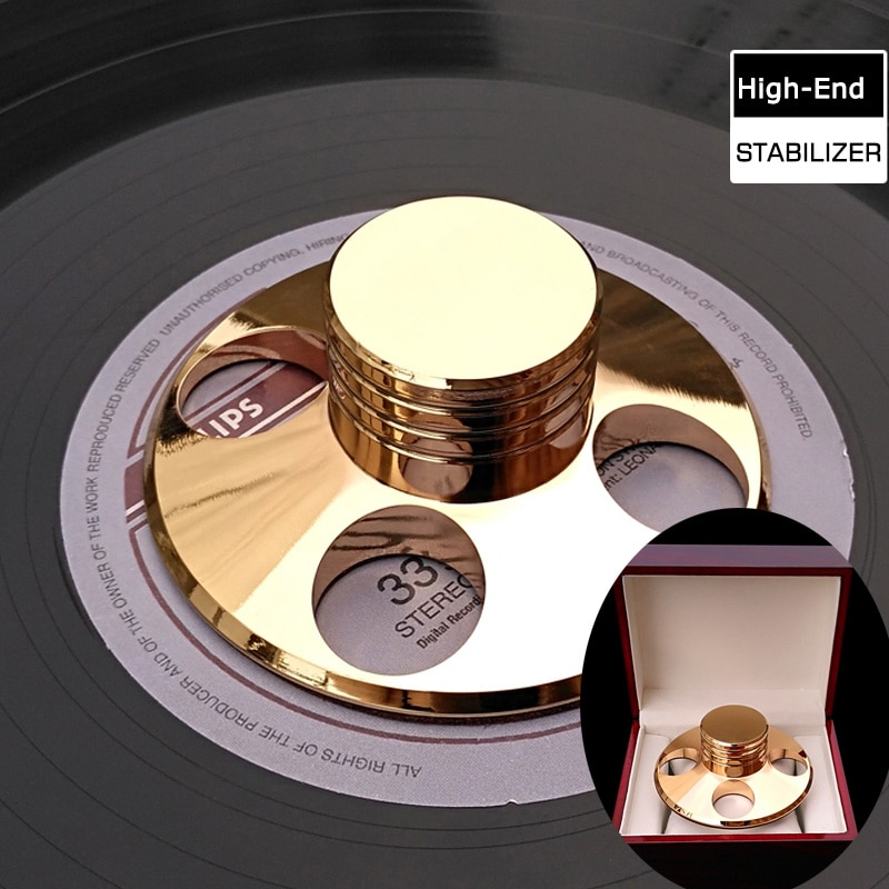 Material de cobre de gama alta LP giradiscos estabilizador de disco de Metal LP peso récord/abrazadera con caja de paquete de alta calidad
