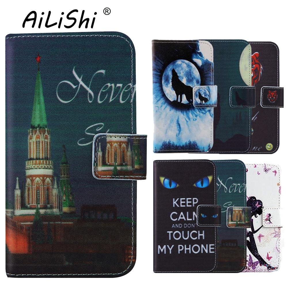 AiLiShi libro-Soporte de silicona TPU proteger cubierta de cuero cartera estuche de piel para Alcatel One Touch Pixi 4 5010D 5 pulgadas