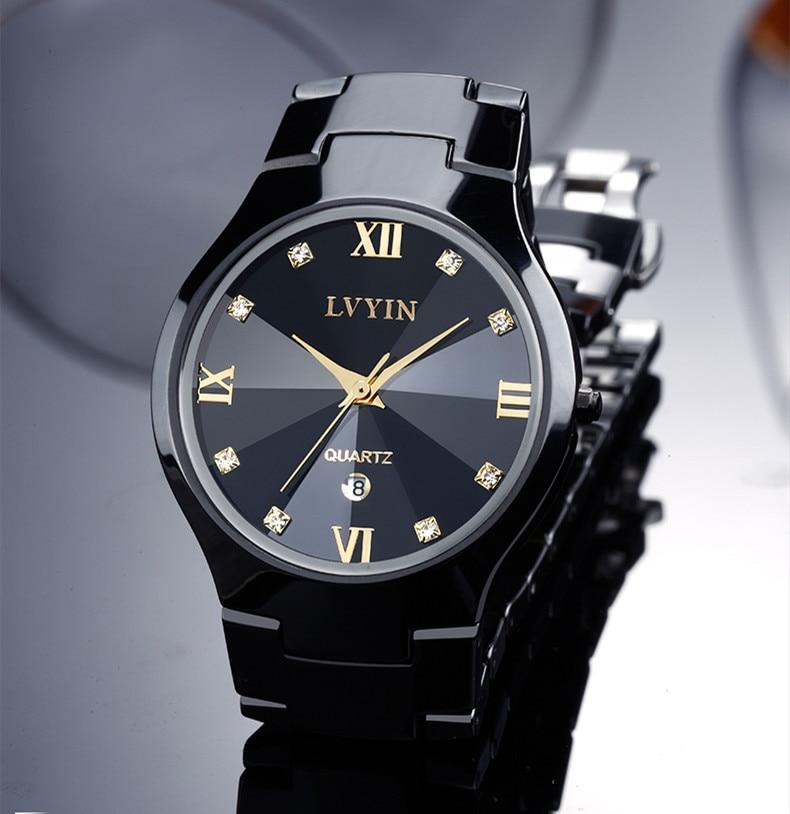 Relogio Montre Femme Lovers Black Ceramic Dress Watch Quartz Business Calendar Watches Couples Roman