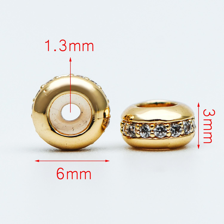 10 pces cz pavimentado rondelle rolha de borracha grânulos 6mm, tom de ouro bronze charme titular conector (GB-603)