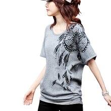 2018 grande taille t-shirts femmes lâche t-shirts coton o-cou imprimé hauts Batwing manches courtes Vetement Femme M 3XL