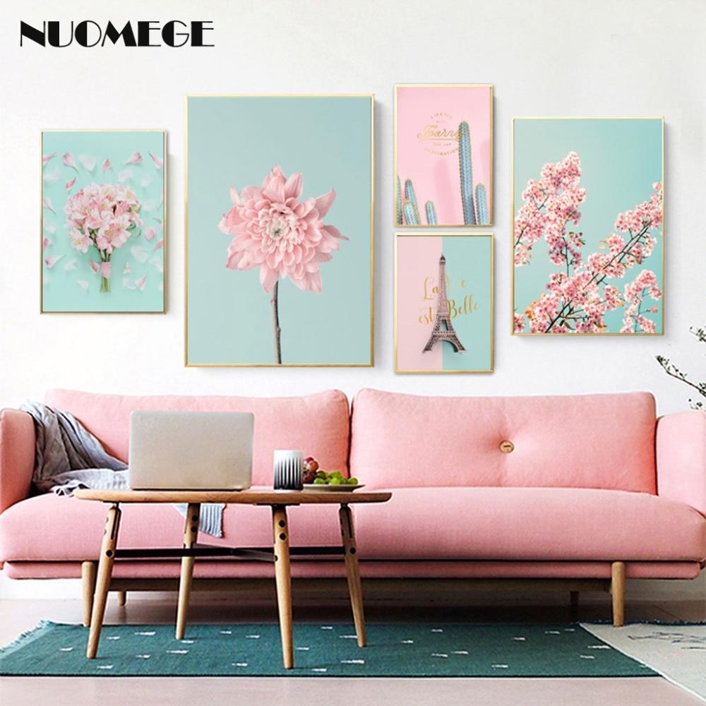 Pintura de lona nórdica NUOMEGE con flor de cerezo y melocotón, póster de Cactus, Cuadros de pared modernos para sala de estar, Cuadros de decoración
