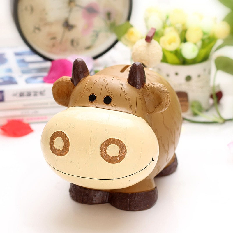 Tirelire créative en résine pour enfants   Tirelire du zodiaque Adorable bovin, mouton, chiens, Panda Animal, coffre à monnaie