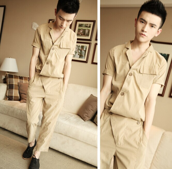 Summer Korean style Harajuku Gothic Rompers For Men Loose Jumpsuit Harem Cargo Overalls Hip-Hop Casual Bibs Pants 052704