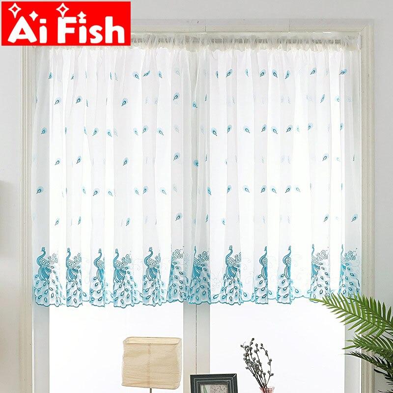 Gasa de ventana de pavo real Rosa 1 Panel azul turquesa peahen corto bordado puro Voile Rod bolsillo puerta cortina cocina MY387 #4