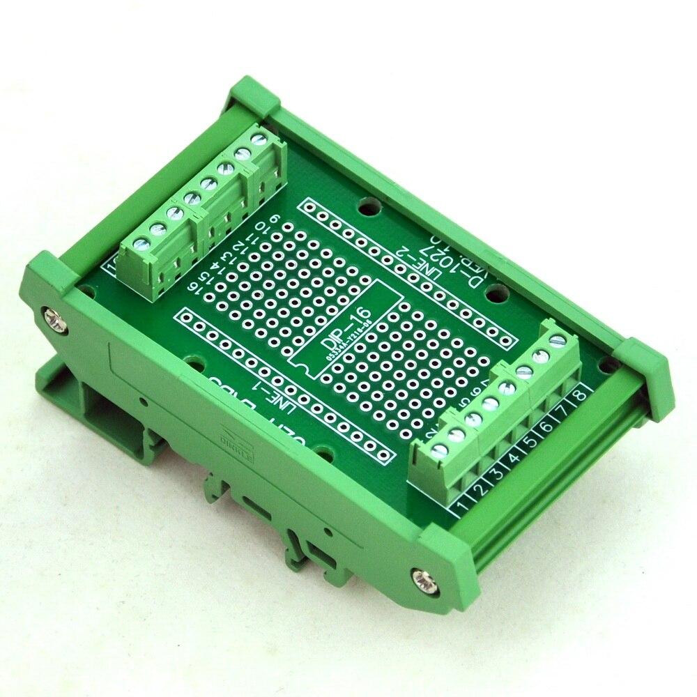 DIP-16 componentes a la placa adaptador de Terminal de tornillo, con soporte de montaje en carril DIN HQ.