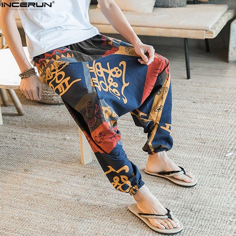 Мужские шаровары в стиле ретро, хлопковые и льняные Длинные свободные штаны с цветочным принтом, широкие брюки в стиле хип-хоп, лето 2019