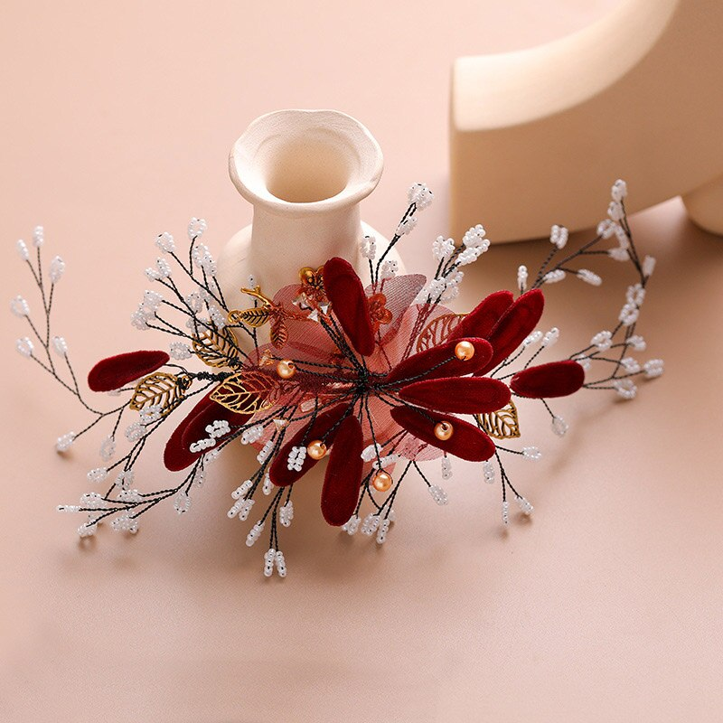 Forseven flor vermelha artesanal pinos de cabelo jóias pérola frisado nupcial hairpins tiaras headpiece feminino casamento acessórios para cabelo jl