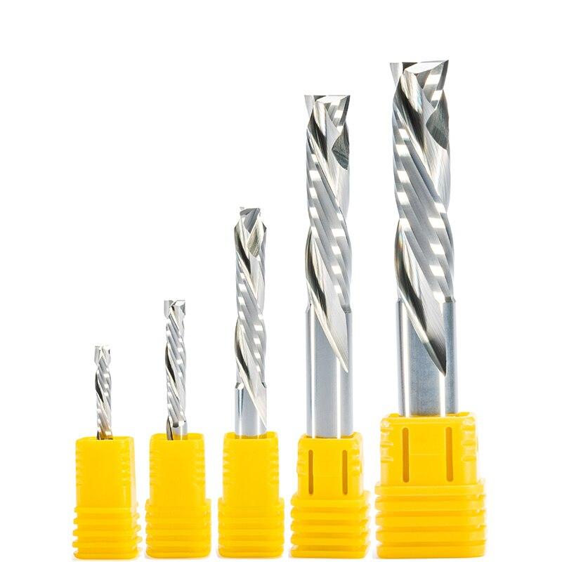 Shk 3.175/4/5/6/8/10 up & down corte duas flautas espiral carpintaria carboneto fresa cnc roteador mdf fresa de madeira cortador de moinho de extremidade bit