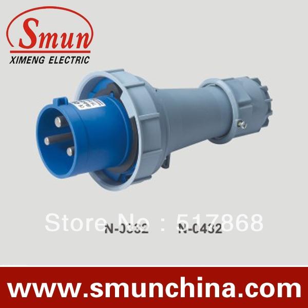N-0432 125A 220-250V 2P + E 3pin المكونات الصناعية مع CE بنفايات 1 سنة الضمان IP67 درجة PA66