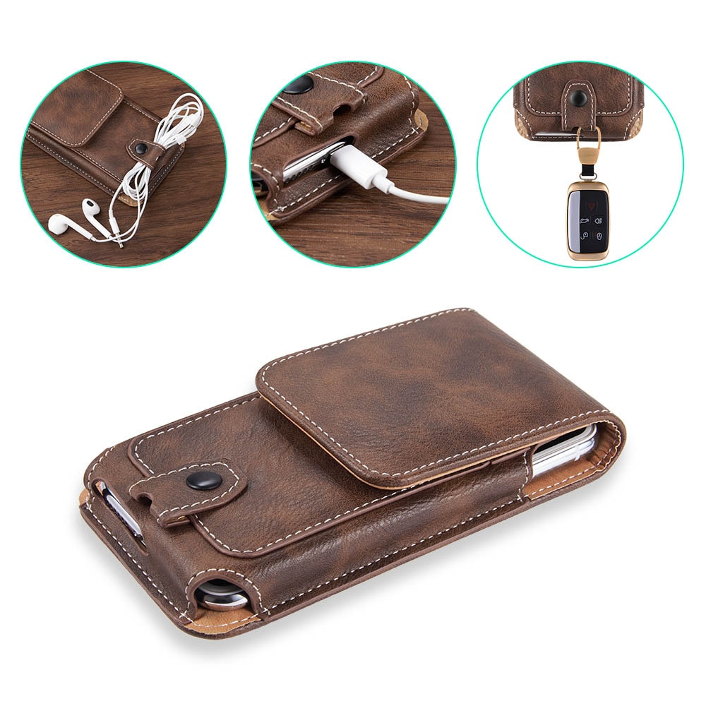 Универсальная сумка для смартфона с зажимом для ремня, кожаный чехол для honor 20 samsung A30 50, чехол-кобура для xiaomi mi 9t redmi note7