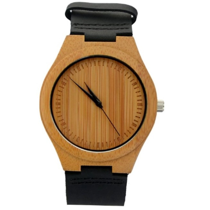 Hot Sell Bamboo Watch  Fashion Wood Watch For Men With Genuine Leather Strap No Waterproof Round Quartz  Men Watches redfire coffee brown walnut wood men watch brown genuine leather watch strap casual wooden mens watches digital round dial