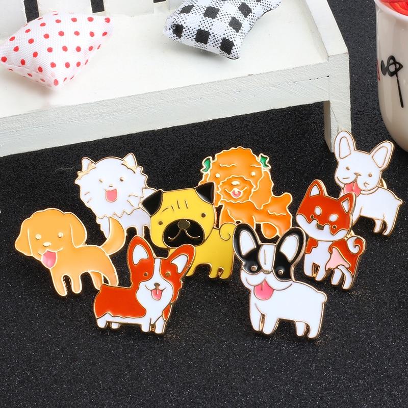 1 Set Mode Kreative Cartoon Niedlichen Hund Emaille Pins Brosche 8 Stil Für Frauen Männer jacken Hemd Metall abzeichen schmuck zubehör