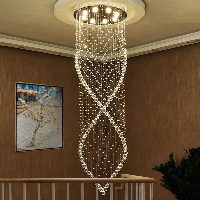 Modern Crystal Chandelier Light Fixture Duplex Stairs LED Crystal Chandelier for Villa Hall Droplight Manggic light