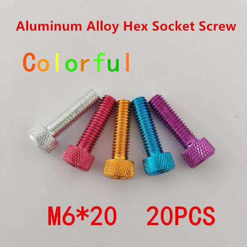 20 piezas tornillos de aleación de aluminio M6 * 20 DIN912 M6x20mm tornillos de Tornillos De Cabeza Hueca hexagonales de aluminio moleteados anodizados en 5 colores