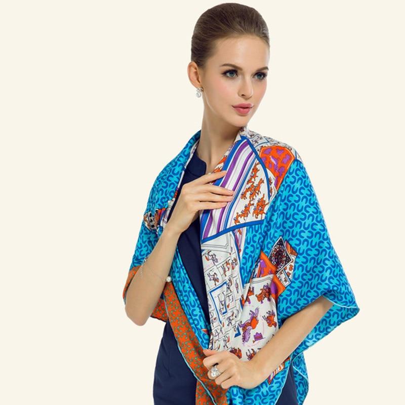 100% саржевый Шелковый женский шарф шейный платок европейский старинный покерный принт с лошадью квадратные шарфы брендовые Роскошные шали ...