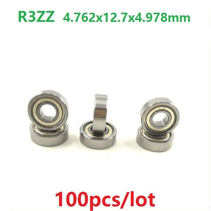 "100 unids/lote R3ZZ R3 ZZ 2Z teniendo 3/16 ""x 1/2"" x 0.196 ""pulgadas metal blindado rodamiento rígido de bolas 4.762x12,7x4.978mm"
