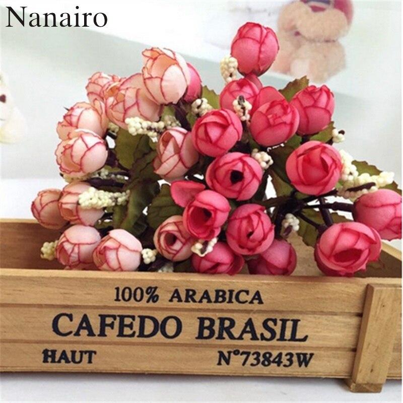1Bouquet/15 Heads Mini Silk Rose Artificial Flower Bouquet Wedding Decoration For DIY Handmake Scrapbooking Fake Bud Flowers