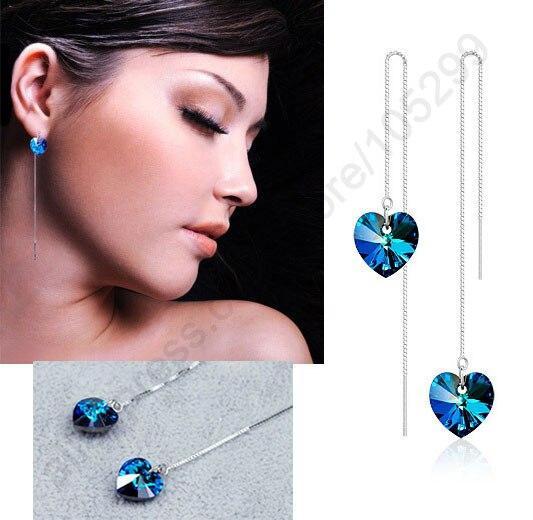 Fast Shipping Genuine Real 925 Sterling Silver Jewelry 925 Ear Thread Ocean Heart Crystal Drop Earrings Elegant Women Gift