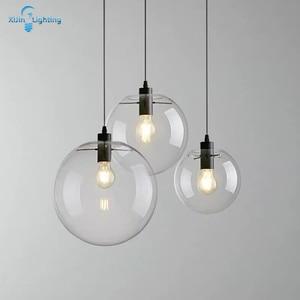 Glass Pendant Lights Modern Globe Ball Pendant Lamp Transparent Lampshade Light Fixture Home Lighting For Dining Room LED Lamps
