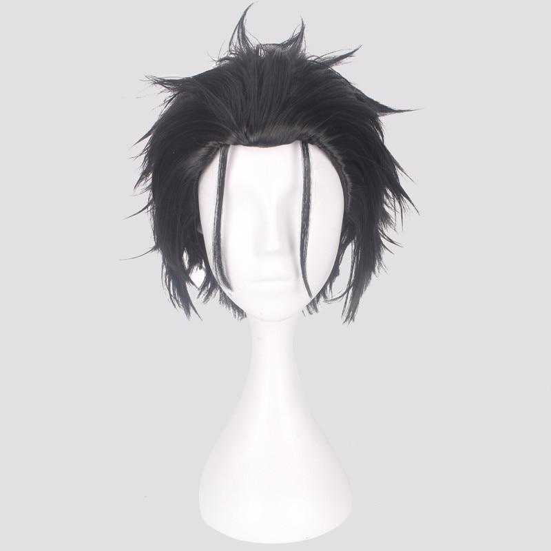 12 polegada masculino preto cinza mix cabelo re zero kara hajimeru isekai seikatsu subaru natsuki peruca de cosplay sintético curto + peruca boné