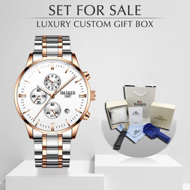 Relojes para hombre HAIQIN, relojes de lujo de marca de oro de acero inoxidable, relojes de cuarzo para hombre, reloj cronógrafo a prueba de agua, reloj