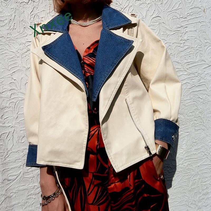 Xnxee-جاكيت نسائي من الجلد الصناعي الناعم ، فضفاض ، أكمام من الدنيم المرقع PU ، ملابس الشارع ، أسود وبيج ، مجموعة خريف 2019 الجديدة