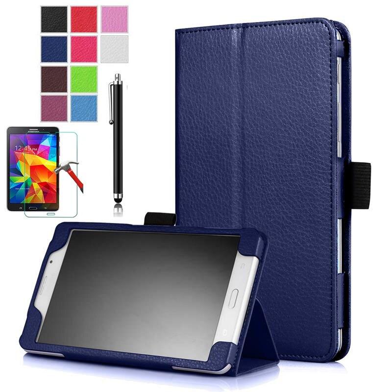 Funda de cuero magnética XSKEMP de lujo para Samsung GALAXY Tab J 7,0 T285, cubierta de activación inteligente para tableta con película de vidrio templado