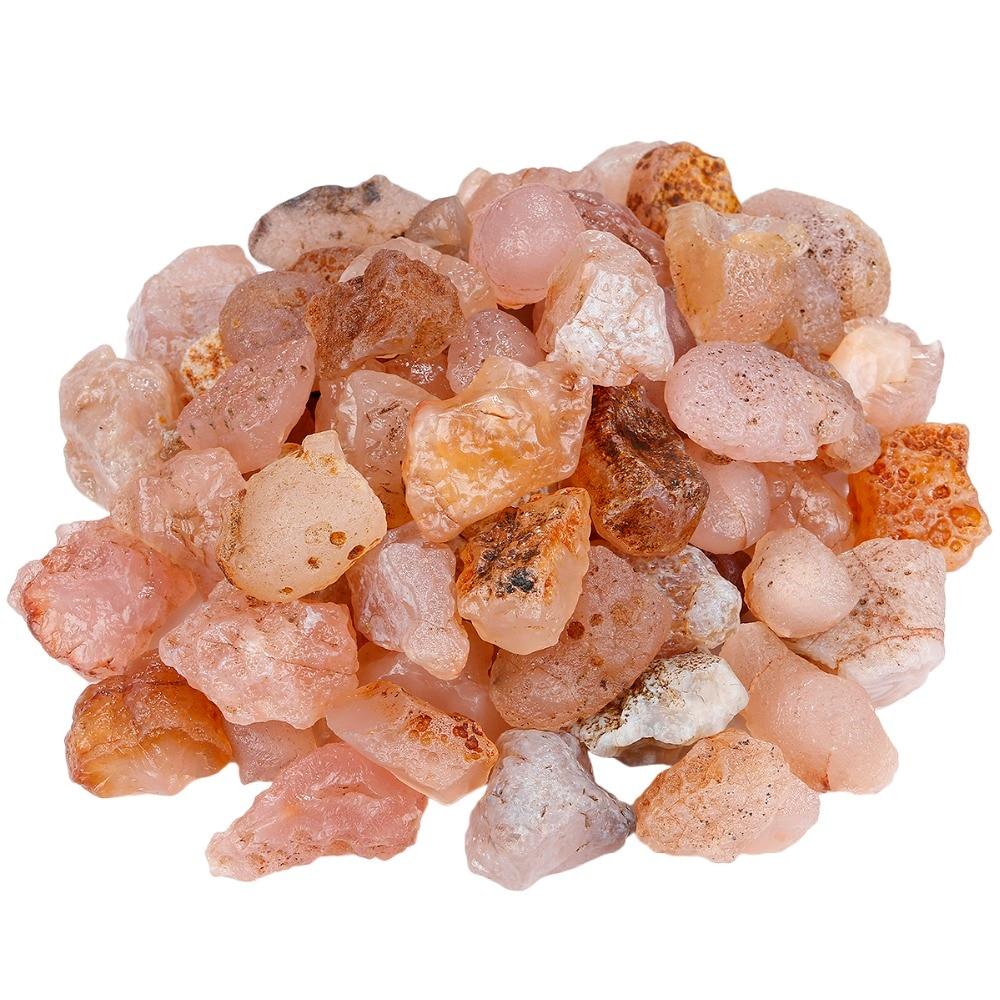 TUMBEELLUWA 1 lb (460g) piedras crudas de Calcedonia rosada para volteo, cableado, envoltura de alambre, sanación Reiki Wicca