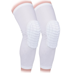 1 Pair White S M L Size Knee Sleeve Pad Braces Protector for Basketball All Contact Sports, Kids Youth and Adult Free Shipping