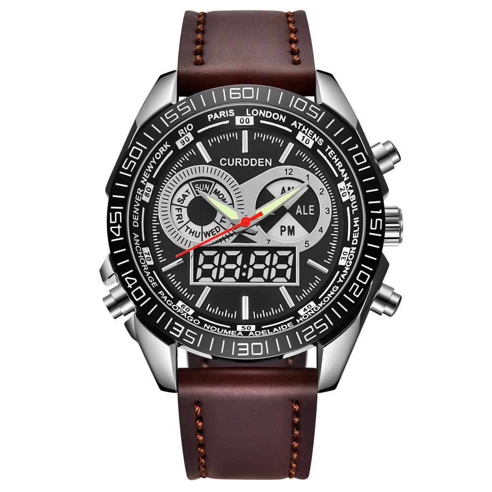 Relojes para hombre, cronógrafo Digital CURDDEN, LED, doble horario, cuero de moda,...