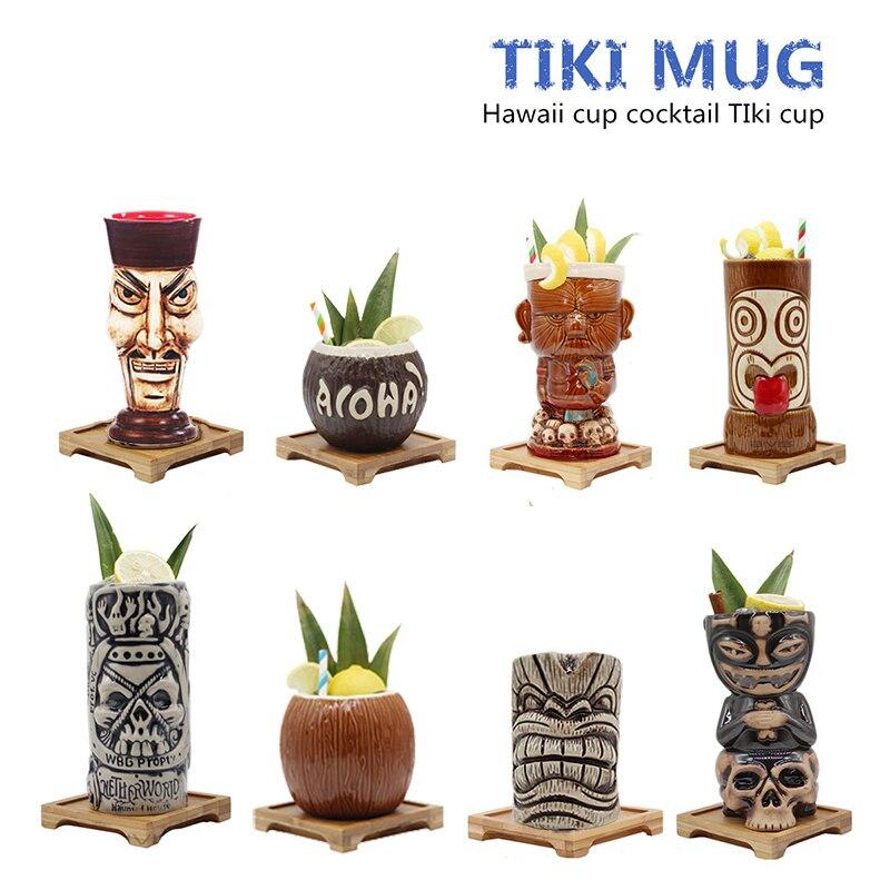 Бесплатная доставка Гавайские Tiki кружки Коктейльная чашка Пивной Напиток кружка для вина керамическая Tiki кружки отлично подходит для кокт...