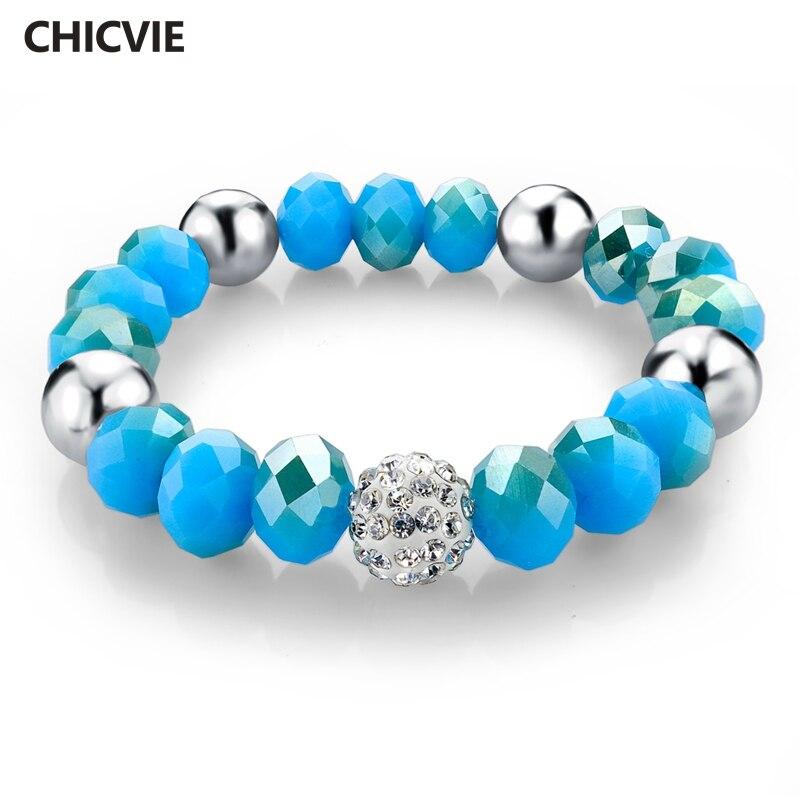 CHICVIE amistad pulsera de abalorios pulseras y brazaletes para mujer famosa marca de lujo Natural piedras para hacer joyas pulsera SBR150164